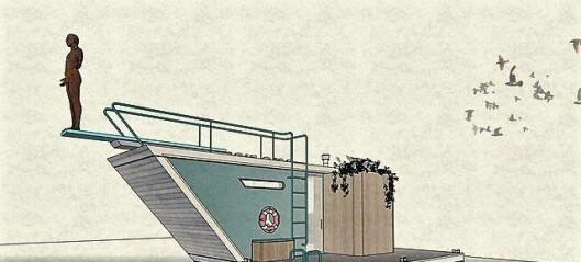 Her er Oslos nye sjøbadstu. Den legges utenfor Operaen i høst