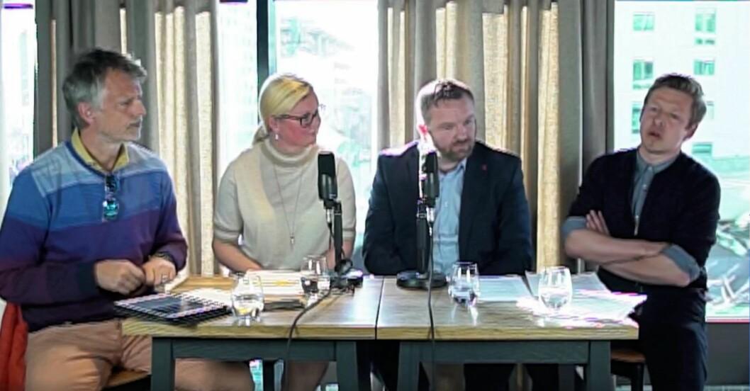 I dagens paneldiskusjon diskuterer paneldeltakerne sosial boligbygging i Bjørvika. Skjermbilde