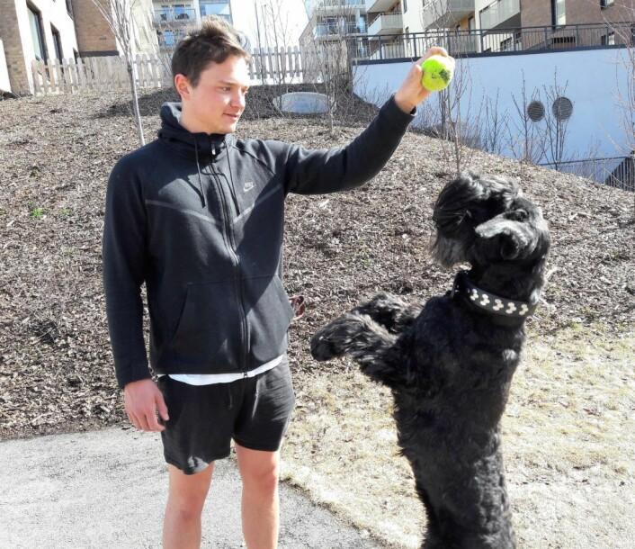 Hunden Kikki bor i Hans Nordahls gate. Hun vil gjerne vise fram noen balltriks. Her med kompis Aleksander Warvik. At gata de bor i er oppkalt etter en fotballspiller, det visste de ikke. Foto: Anders Høilund