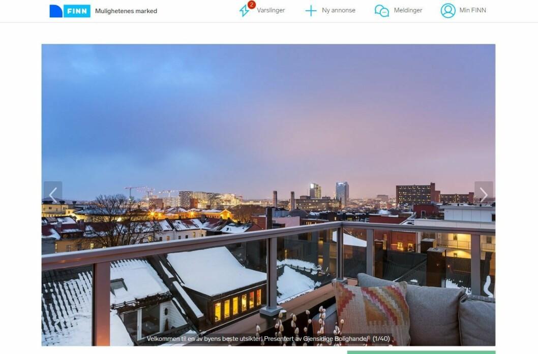Utsikt over byen fra rekordleiligheten i Haakons gate. Skjermdump annonse. Foto: Christofer Svensson, DIAKRIT