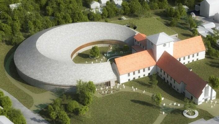 Slik blir museet for vikingskipene seende ut når tilbygget etter planen står ferdig i2022/2023. Illustrasjon: Statsbygg