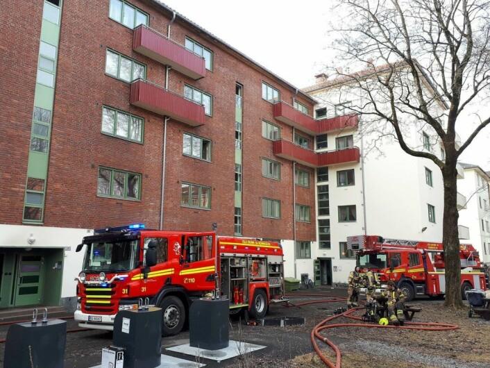 Det var aldri noen spredningsfare fra brannen i Dælenenggata 37 b og 37d. Foto: Christian Boger