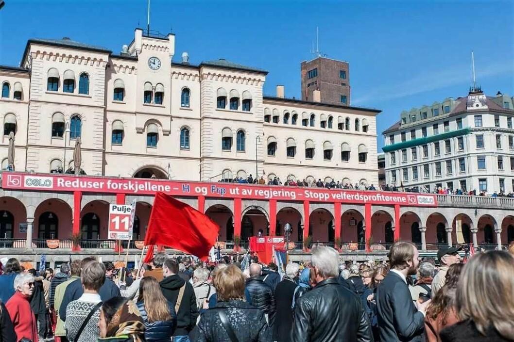 Over 9.000 møtte opp på Youngstorget 1. mai i fjor. Foto: Anna Carlsson
