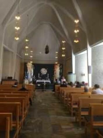 Bygdøy kirke sett fra inngangspartiet. Foto: Kjersti Opstad