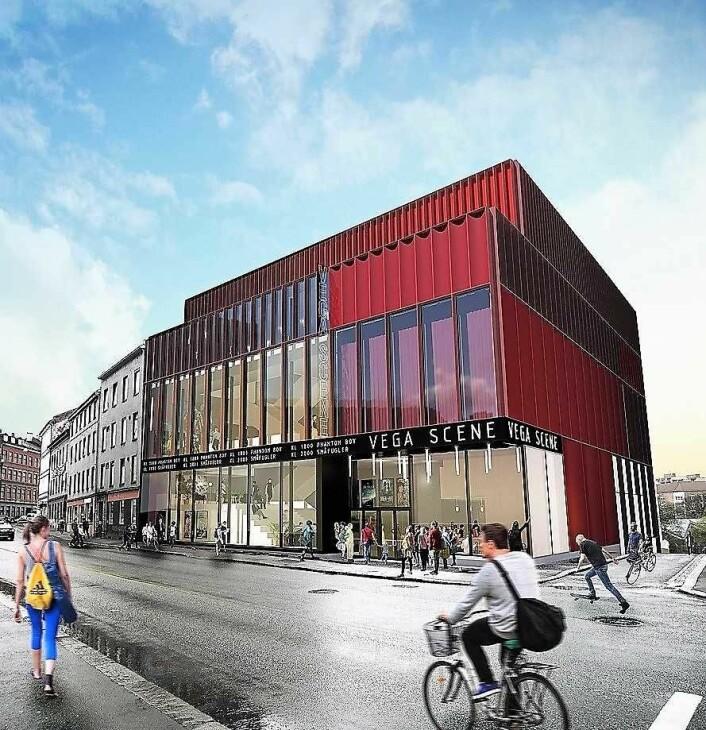 Slik skal kulturhuset Vega Scene bli når det står ferdig 1. november. Illustrasjon: Asplan Viak