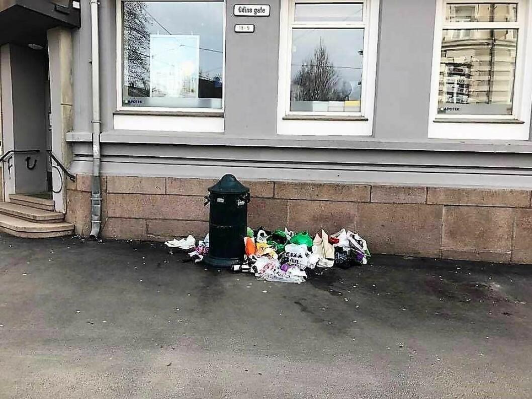 Forsøpling utenfor de vakre bygårdene i Odins gate på Frogner. Foto: Marit Jensen