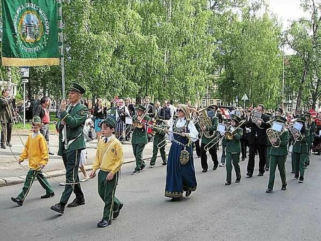 Grünerløkka skoles musikkorps på 17. mai. Foto. Grunerløkka skoles musikkorps