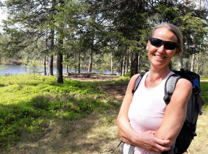 Kari Almendingen fra Skytta i Nittedal var på langtur for å gå inn nye fjellstøvler. Verdien av å ha marka nær der du bor, kan ikke overvurderes,mene Almendingen. Foto: Anders Høilund