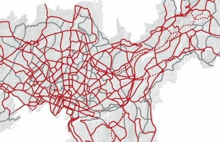 Her er sykkelveinettet til 13,5 milliarder kroner. Planen er at Oslo skal ha 530 km sykkelveier innen 2040. Illustrasjon: Oslo kommune