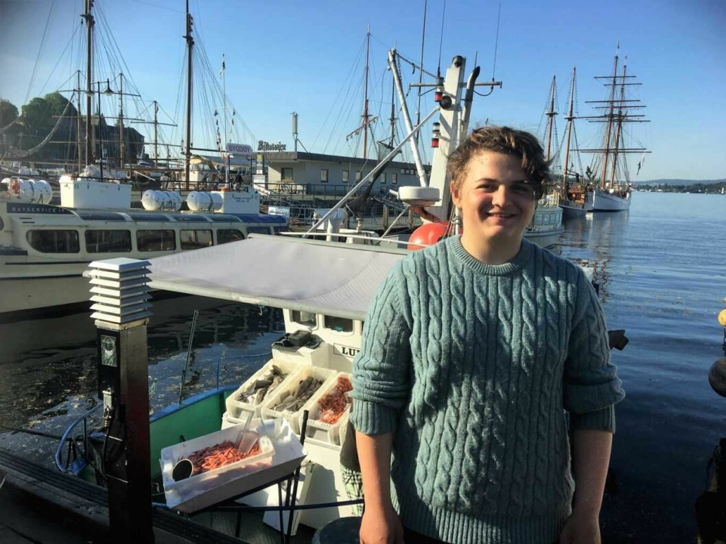 Theo (15) går i niende klasse og har akkurat hatt arbeidsuka på en fiskebåt. Foto: Amalie Aune Bjerkem