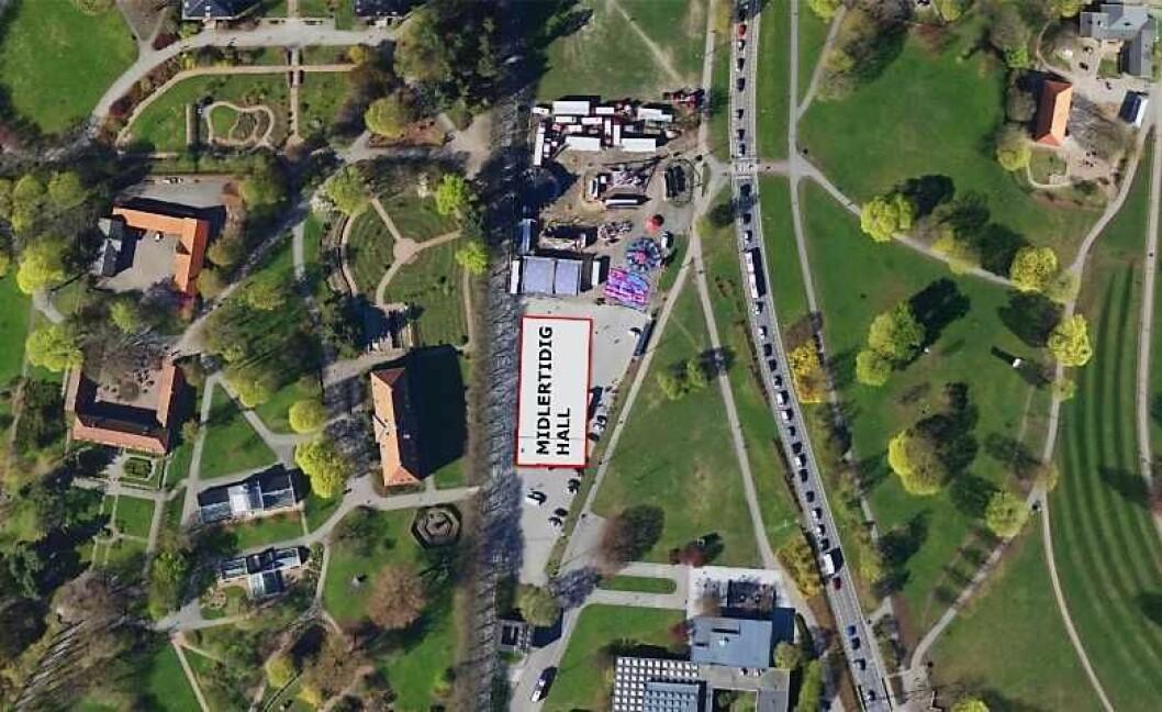 Den midlertidige flerbrukshallen vil ligge midt mellom Munchmuseet og Botanisk Hage på Tøyen. Foto: Rambøll AS