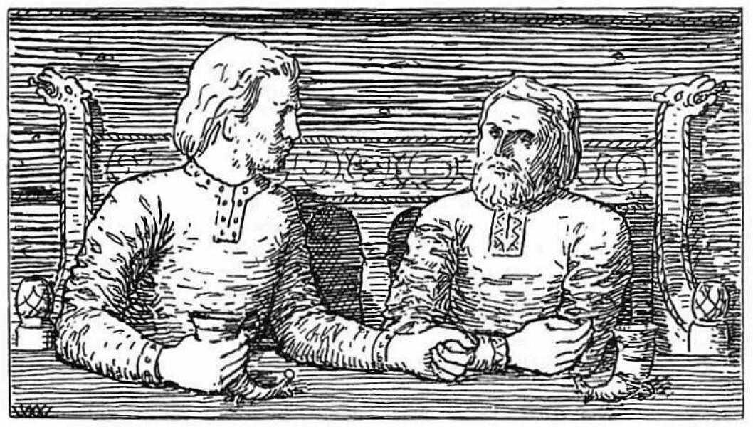 Harald og Svein sat og svalla og drakk, har kunstneren Wilhelm Wetlesen kalt denne illustrasjonen til Snorres Heimskringla.