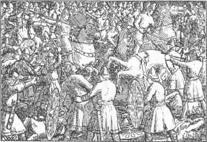 I følge Snorres kongesagaer deltok Harald Hardråde i 80 slag for keiseren av Bysants. Harald var en kriger og en råtass. Illustrasjon av Wilhelm Wetlesen