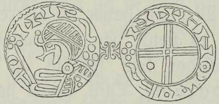 Slik så Norges første mynter ut. Harald Hardrådets norske mynter fra rundt 1046. Illustrasjon O. A. Øverland