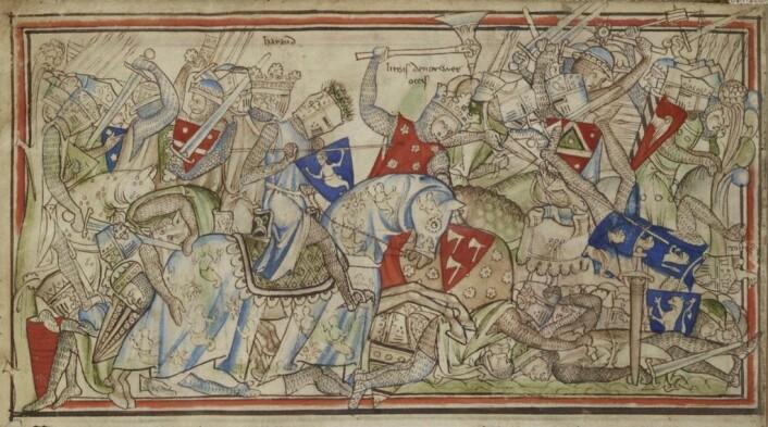 Slaget ved Stamford Bridge. Illustrasjon: Matthew Paris / Wikipedia