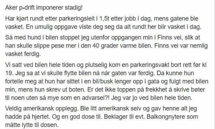 Monica Kvaale sitt innlegg på Facebook-gruppen Keyserløkka øst.