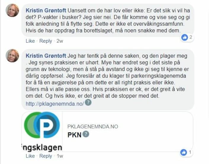 Også andre naboer reagerer på parkeringsselskapets opptreden rundt Keyserløkka. Skjermdump fra Facebook