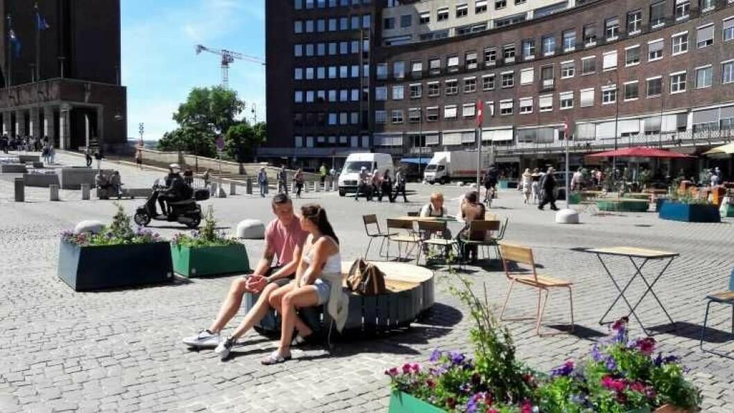 Fridtjof Nansens plass blir fra i dag bilfri. Foto: Anders Høilund