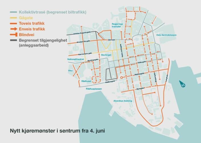 Slik ser det nye kjøremønsteret ut i sentrum fra 4. juni. Bilde: Byrådsavdeling for byutvikling