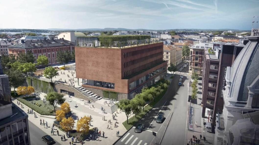 Slik vil nye Ruseløkka skole framstå når den står ferdig. Illustrasjon: GASA Arkitekter