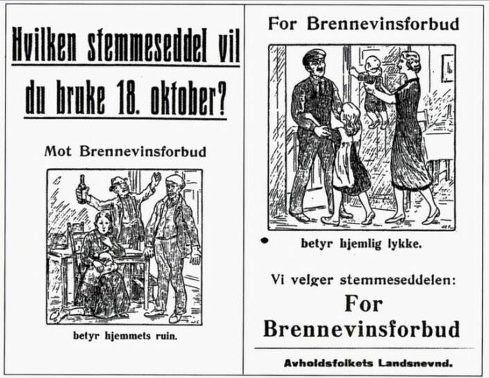 I 1926 sto det folkeavstemning om brennevinsforbudet. Her en valgplakat til folkeavstemningen. Bilde: Avholdsfolkets Landsnevnd