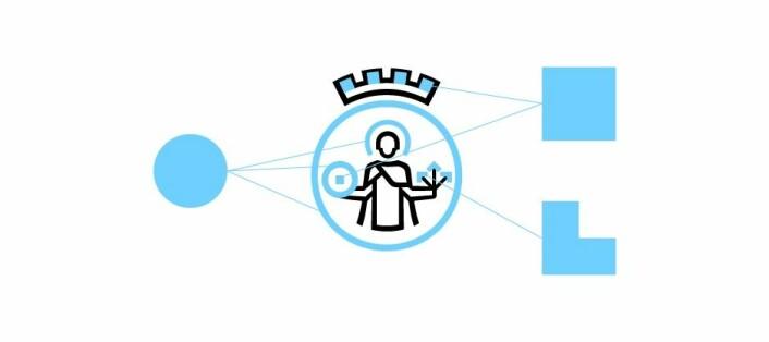 Forenklet St. Hallvard med tre streker som skal forestille pilene, og en sirkel skal være møllesteinen. Foto: Oslo kommune