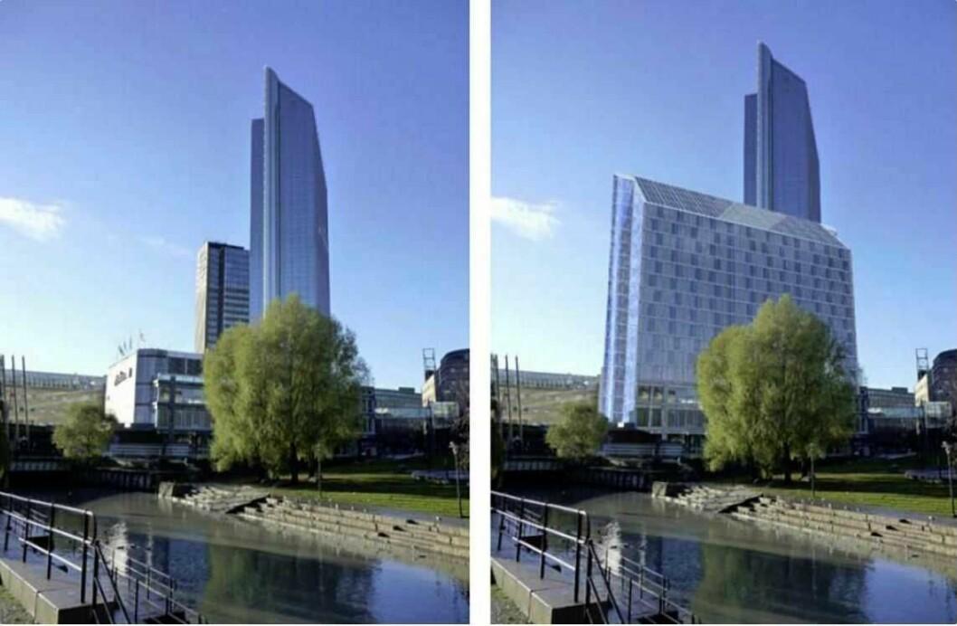 Bystyreflertallet stemte til slutt for at mini-tvillingen til Oslo Plaza kan bli 14 etasjer høy. Selv om mange frykter nybygget vil skygge for Vaterlandsparken og Akerselva. Illustrasjon: White arkitekter