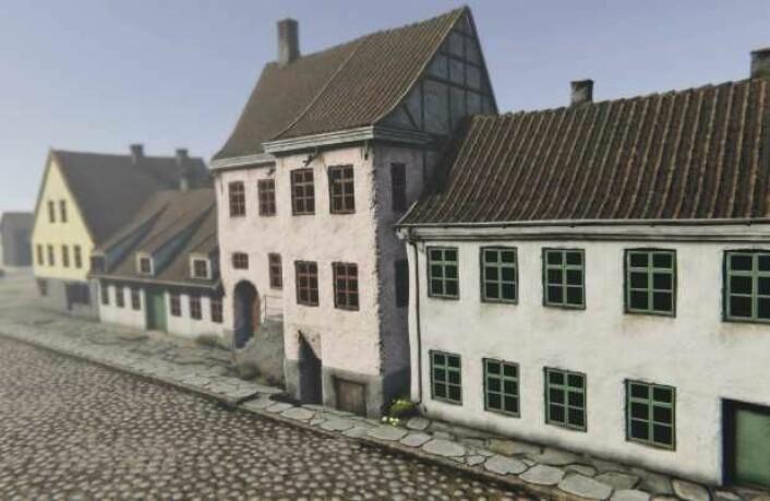 Slik så Fred. Olsens gate 1 og 3 med utsikt mot Rådhusgata i 1798. Illustrasjon: Mats Jørgensen/Tidvis