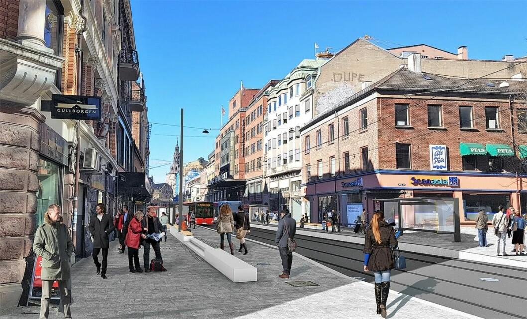 Bildet viser de nye fortauene og den nye holdeplassen mellom Folketeateret og Youngs gate som skal hete Storgata. Illustrasjon: Bymiljøetaten.