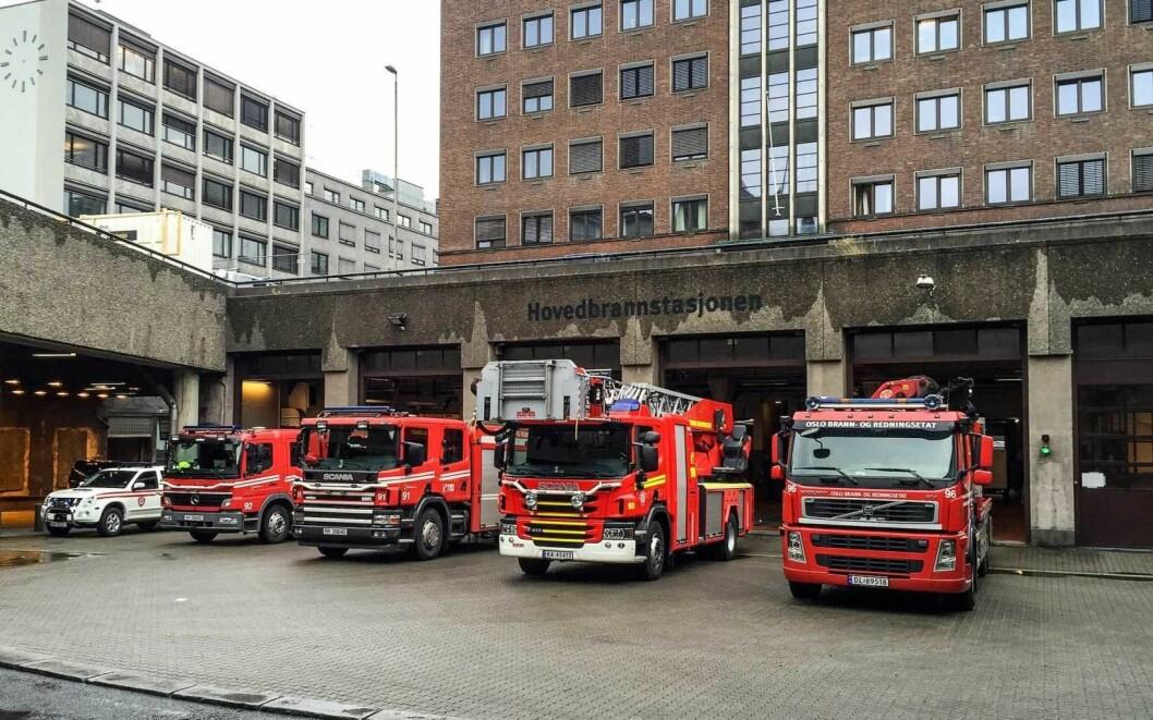 Oslo brann- og redningsetat blir værende i den gamle hovedbrannstasjonen på Arne Garborgs plass  fram til juli 2023. Foto: Oslo brann- og redningsetat