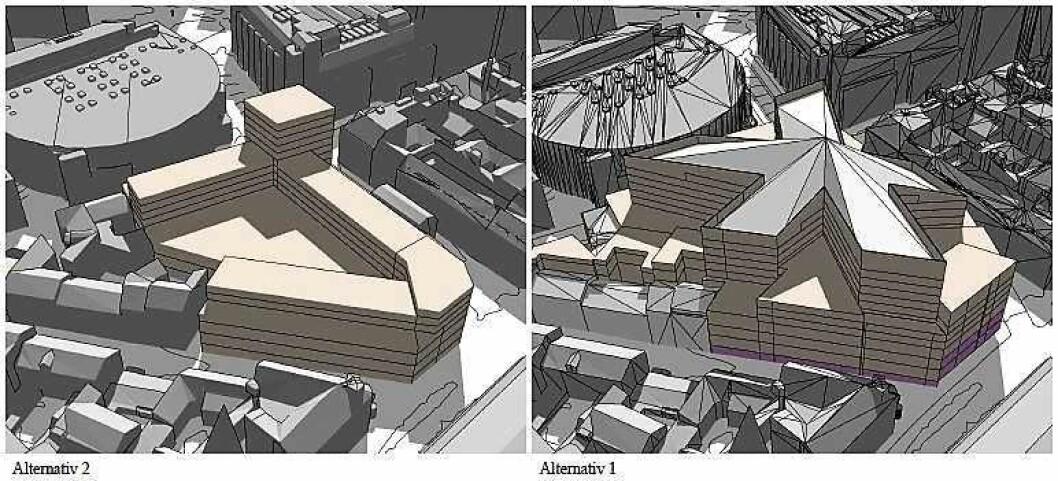 Til høyre er Olav Thons opprinnelige plan med et stjerneformet, 50 meter høyt kombinert hotell og shoppingsenter. Til venstre plan- og bygningsetatens alternativ som er lavere og med flere boliger og mindre kjøpesenter. Illustrasjon: Plan- og bygningsetaten/Oslo kommune