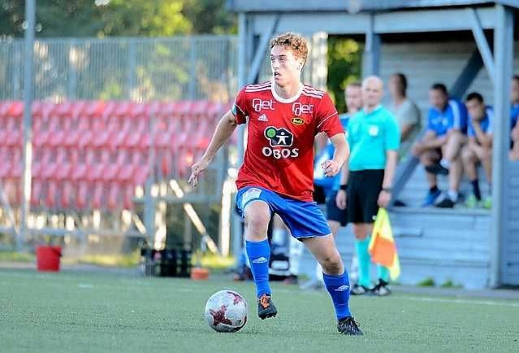 Theodor Kramarics skåret seiermålet mot Asker 2. Nå blir han flyttet opp fra juniorlaget til A-laget hos Skeid. Foto: Anders Vindegg