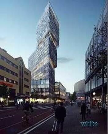 Slik vil Thons nye kjøpesenter og hotellkompleks se ut. Illustrasjon: White arkitekter