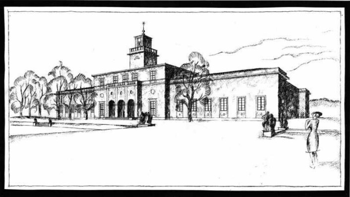 Original-tegning av det svært spesielle museet der du kan bli bedre kjent med Gustav Vigelands unike skulpturkunst. Illustrasjon: Vigeland-museet