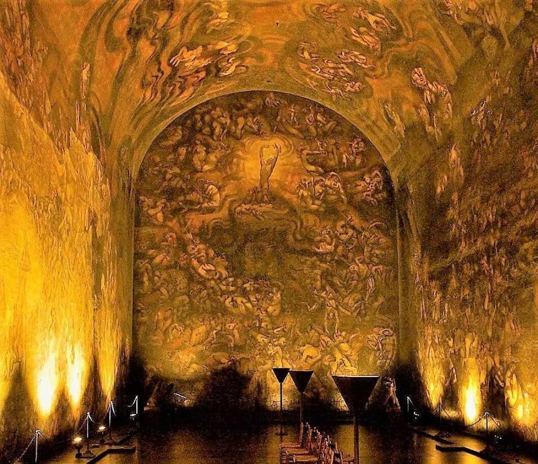 """Et eller annet sted her vil du finne kunstneren. Emanuel Vigeland malte seg selv inn i livsverket """"Vita"""". Foto: Emanuel Vigelands museum"""