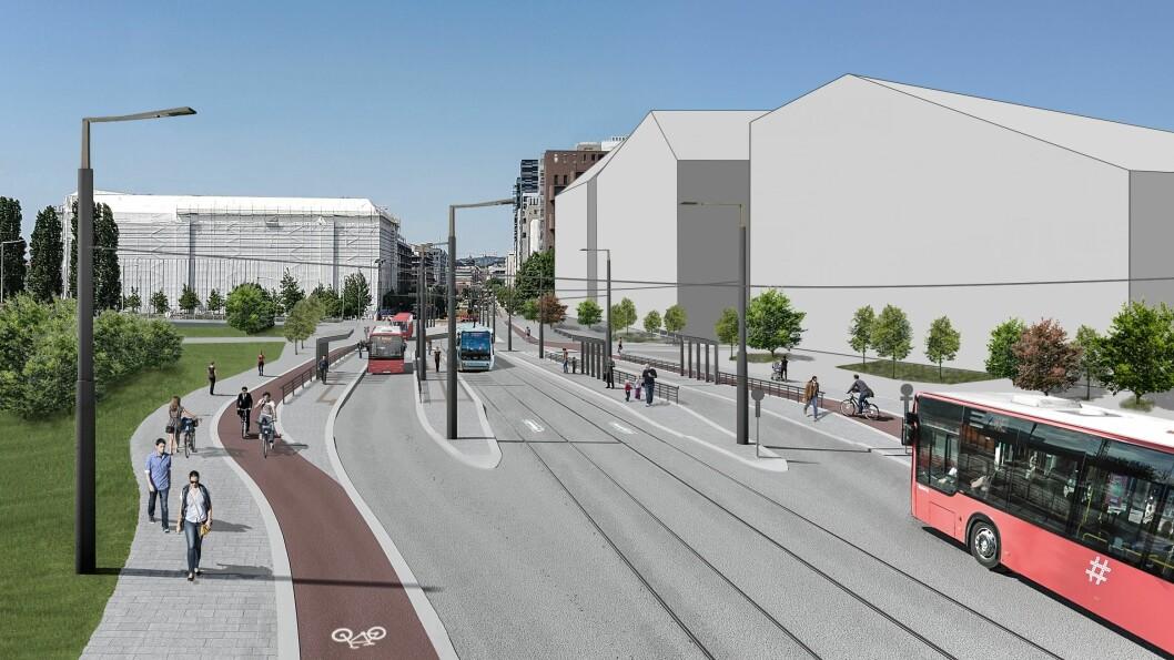 Her ser vi den planlagte holdeplassen for trikk i Bispegata, mellom Dronning Eufemias gate og Oslo gate. Illustrasjon: Bymiljøetaten