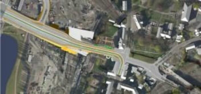 Dette er prosjektområdet i Bispegata. Illustrasjon: Bymiljøetaten