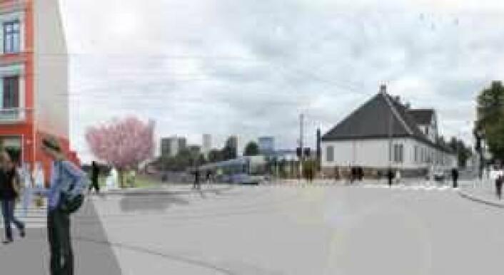 Fremtidens Oslo torg. Illustrasjon: Bymiljøetaten