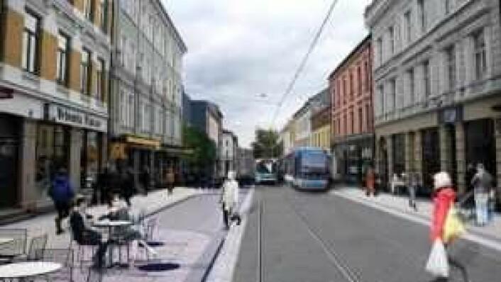 Den midterste delen av Thorvald Meyers gate skal oppgraderes først. Her blir det bredere fortauer og soner som tilrettelegger for uteservering, benker og varelevering. Illustrasjon: Bymiljøetaten