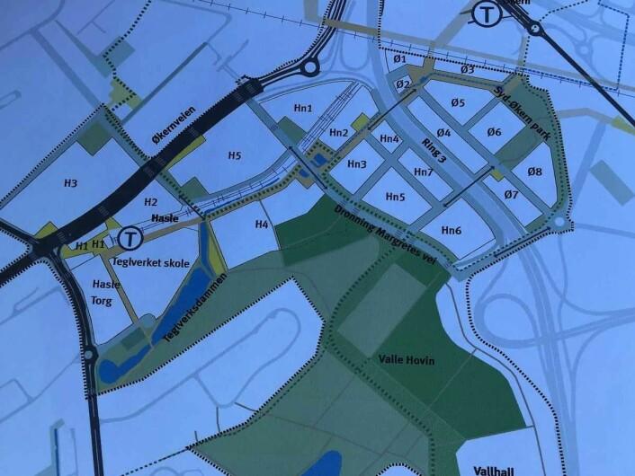 Her er kartet som illustrerer endringen dersom Oslos politikere vedtar plan- og bygningsetatens forslag. Illustrasjon: Plan og bygningsetaten