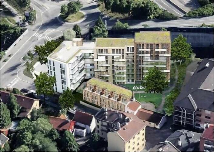 Slik blir de nye byggene seende ut i tilknytning til bebyggelsen rundt. Illustrasjon: LINK arkitektur