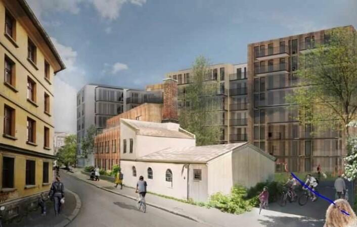 Etterstadveien 6 foreslås bevart, restaurert og knyttet til et nytt bygg. Illustrasjon: LINK arkitektur