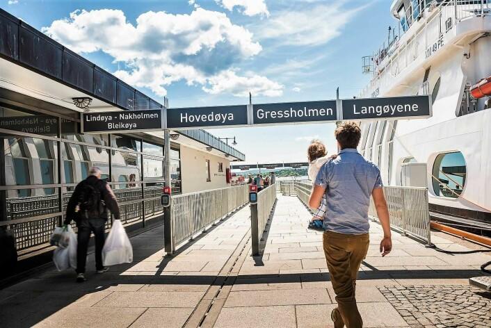 Reisende fra Aker Brygge kan velge mellom Hovedøya, Bleikøya, Gressholmen, Lindøya, Nakkholmen og Langøyene. Foto: Birgitte Heneide/Ruter