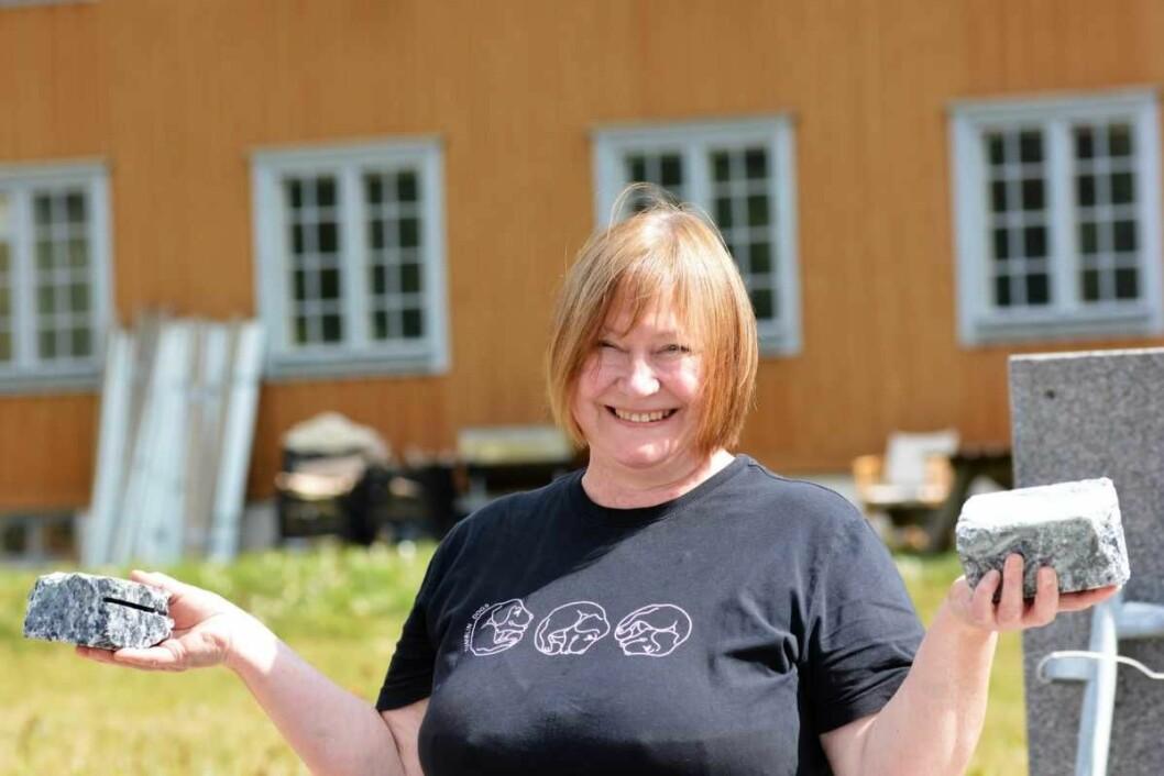 — Barna kan prøve seg med hammer og meisel. Etterpå kan de ta med kunstverket hjem, sier Frøydis Arnesen. Hun er en av initiativtakerne til steinhuggerfestivalen på Grorud. Foto: Olga Andresen