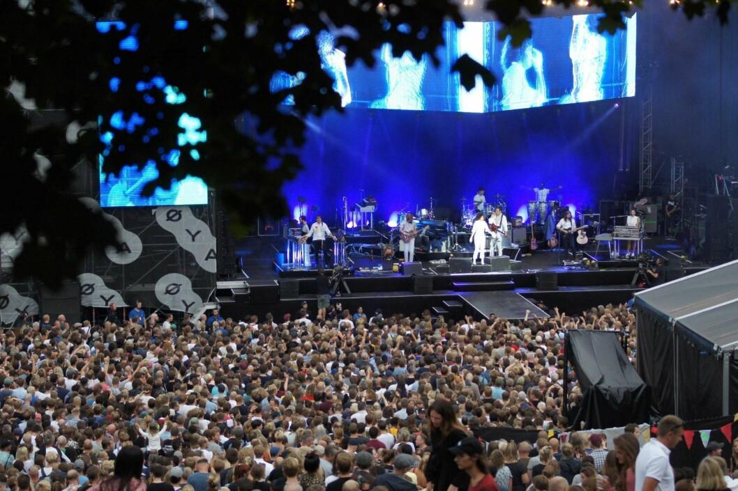 Arcade Fire på hovedscenen under Øyafestivalen 2018. Foto: Thea Leivestad