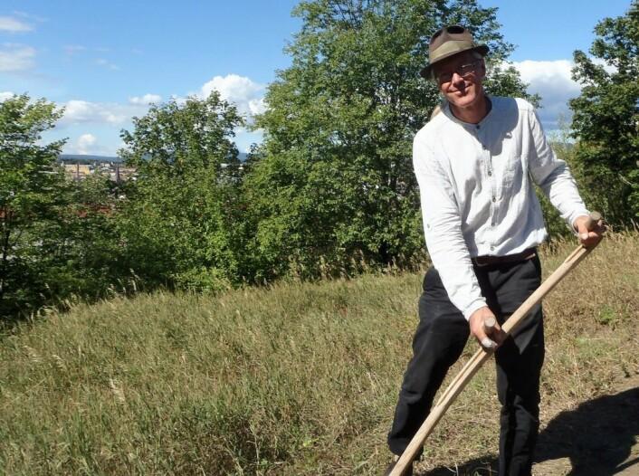 Mats Rosengren reiser verden rundt å lærer bort hvordan slå med ljå. Foto: Anders Høilund