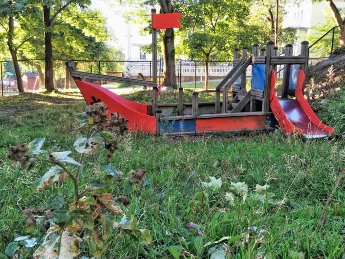 Men parkflekken gror igjen står de dårlig vedlikeholdte lekeapparatene tomme. Foto: Runar Blekken