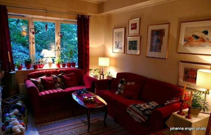 Her er stua i Johannas leilighet. Nå slipper hun å flytte herfra. Foto: Privat