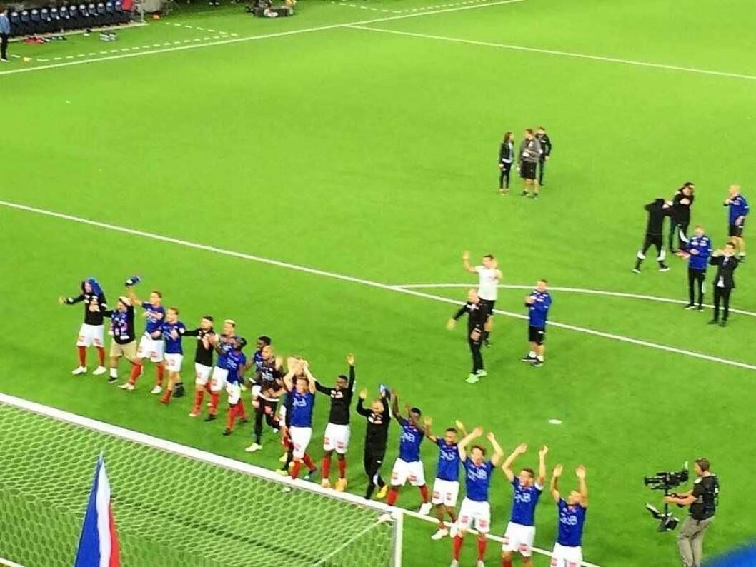 Endelig. Første seier på tre måneder for VIF fotball. Foto: Johannes Hellstrand Frøshaug