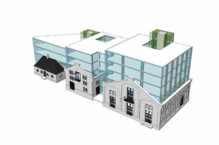 Slik ser et såkalt volumdiagram ut, til påbygget på Thereses gate 31. Bygget vil med andre ikke se slik ut til slutt. Illustrasjon: Oslo House